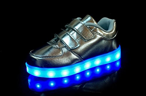 (Présents:petite serviette)JUNGLEST® Unisexe Enfant Filles Garçons a mené la Lumière Jusquà Formateurs de Sneakers Chaussures de Sport Chaussures Argent