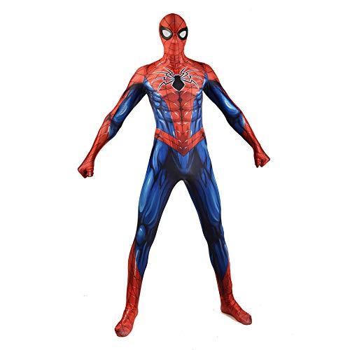 Zurück Schule Zu Kostüm - DSFGHE 3D Digitaldruck Zurück Zu Schule Zurück Stahl Spiderman Kostüm Cosplay Muscle Man Body Strumpfhosen Spielkleidung,Red-M