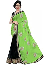 Tiana Creation Green and Black Georgette Designer Saree with blouse piece