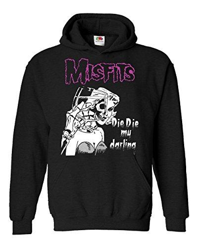 """Felpa Unisex """"Misfits - Die Die My Darling"""" - Felpa con cappuccio rock band LaMAGLIERIA, S, Nero"""