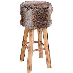 ToCi-Taburete de bar de madera con parche de piel sintética, cabaña de taburete con 4patas de madera estable en mágica Style | 70cm de alto | Asiento 30cm acolchado