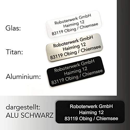 Roboterwerk kleines Drohnenkennzeichen Glas - Titan - Aluminium inkl. Pilotenkarte Drohnen Plakette feuerfest / Kennzeichnung / Drohne Kennzeichen