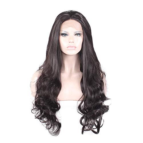 PKQ® 100% Echtes Human Hair Perücken Damen Lang Wellig Locken Vordere Spitze Perrücke Frauen Hohe Qualität Menschliche Haar Perücke Long Gelockt Front Lace Wig Curly Haarteile (Schwarz 65 - Kostüm Brasiliano
