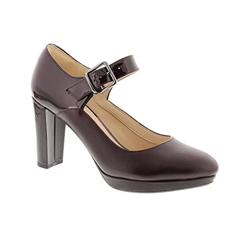 Clarks Women's Mary Janes Heels Court Shoes Kendra Gaby Aubergine Leather