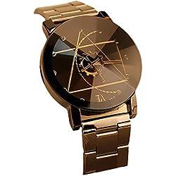 Kfnire Fashion Men's Compass Analog Watches Stainless Steel Quartz Wrist Watch