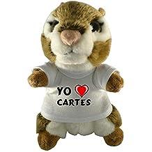 Ardilla americana de peluche (juguete) con Amo Cartes en la camiseta (ciudad / asentamiento)