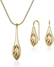 Mestige Women's Golden Shadow Amelie with Swarovski Crystals Jewelry Set - MSSE