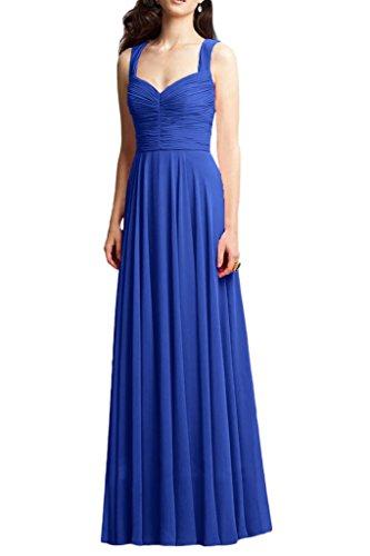 Milano Bride Damen Anmutig Zwei-Traeger Abendkleid Festliche Kleider Brautjungfernkleider Lang Royal Blau