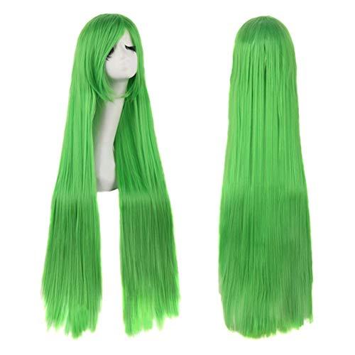 Farbe Lange Gerade Perücken Hochwertige Haare Carve Cosplay Kostüm Anime Party Bangs Full Sexy Perücken Damen Mädchen 100Cm,Green