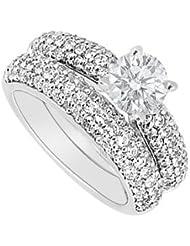 Anillo de compromiso de diamantes de oro blanco de 14K con juego de banda de boda 1.80quilates