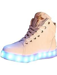 Gaorui Damen High-Top LED Light Glow Sneaker Multi-Color-Blink Turnschuhe Sportsschuhe USB Aufladen Gebühre Weiß für Unisex-Erwachsene Herren Damen