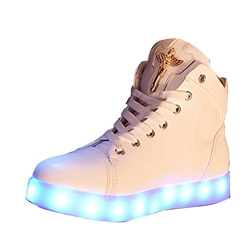 #Gaorui Damen High-Top LED Light Glow Sneaker Multi-Color-Blink Turnschuhe Sportsschuhe USB Aufladen Gebühre Weiß für Unisex-Erwachsene Herren Damen#