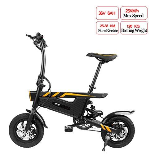 PXQ Faltbares Elektrofahrrad, elektrische Doppelscheibenbremse, 36 V, 250 W, 16-Zoll-Reifen, 25 km/h Singlespeed-E-MTB-Faltfahrrad mit großer Kapazität Lithium, für Erwachsene und Studenten,Black