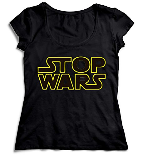 MYMERCHANDISE Stop Wars Black and Yellow Star Wars Damen T-Shirt Black Men's Shirt Baumwolle Cotton Damen LG Women Black T-Shirt