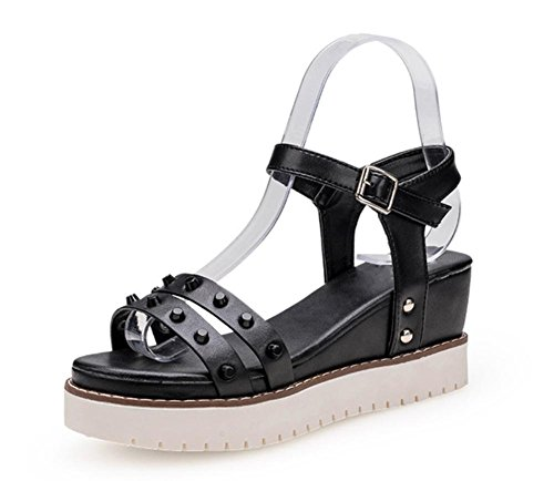 Wölbungsbügel Niete dünnen Gürtel um Sommer Sandalen Schuhfrauensandelholze Fußring leer Black