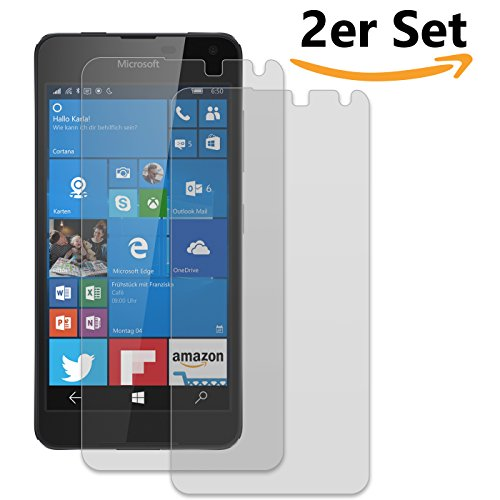 Conie SE12019 2er Set 9H Panzerfolie Kompatibel mit Microsoft Lumia 650, 2X Panzerglas Schutz Folie Anti-Öl, Anti-Finger Print Gorilla Glas für Lumia 650 Handyfolie (2 Stück) 2X Glasfolie