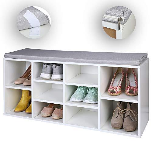 TRESKO Schuhschrank für 10 Paar Schuhe mit Sitzgelegenheit/Sitzbank mit waschbarem Sitzkissen,...