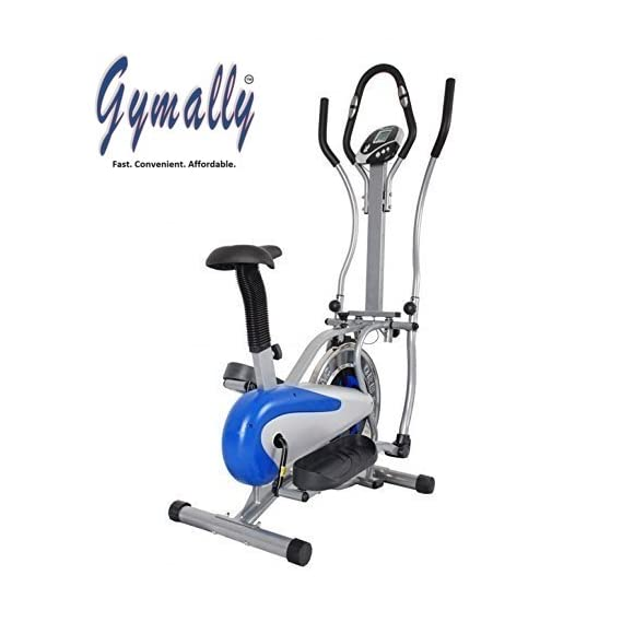 Gymally Exercise Bike; Multi Orbitrek Elliptical Steel Wheel; Orbitrek Dual Action / Hand Pulse Orbitrek, With Seat and Pulse Stand - (Silver & Blue)