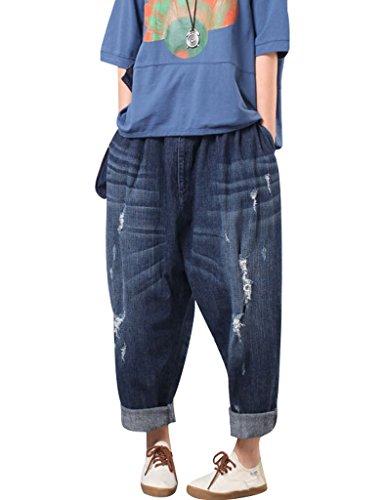 Youlee Donna Elastico Vita Ampia Leg Harem Pantaloni Foro Jeans