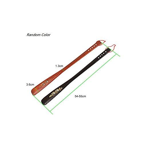 Soumit® Professionale Peso Leggero Flessibile Portatile 55cm Lungo in Legno Scarpa Corno Scarpa Lifter Durevole Strumento con Facile Gancio Foro per Anziani Incinta Donne Casuale