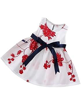 Vovotrade Verano Bebé niños niñas Princesa Vestido sin mangas garabatear Floral Lazo del bowknot