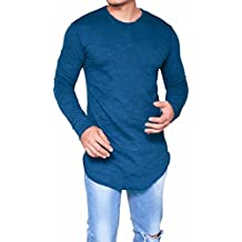 Toamen Hombres camiseta Slim Fit O Neck Long Sleeve Muscle Tee Tops Casual Blusa