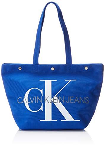 Calvin Klein Jeans Damen Canvas Utility Ew Bottom Tote M, Blau (Nautical Blue), 15x31x46 cm -
