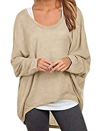04f85b178c36f2 ZANZEA Damen Lose Asymmetrisch Jumper Sweatshirt Pullover Bluse Oberteile  Oversize Tops
