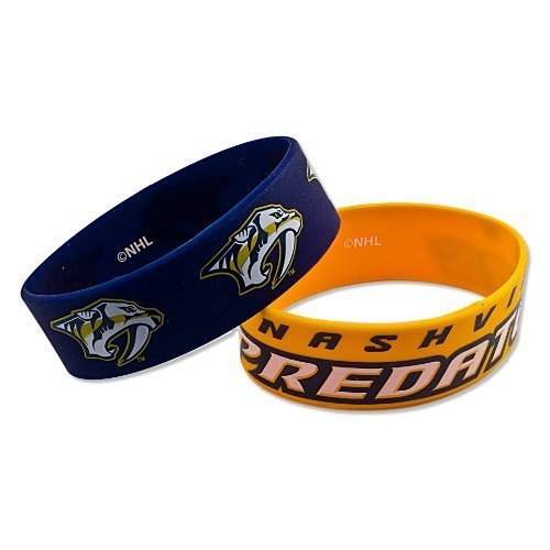 NHL Nashville Predators Silicone Rubber Bracelet Set, 2-Pack by Aminco International