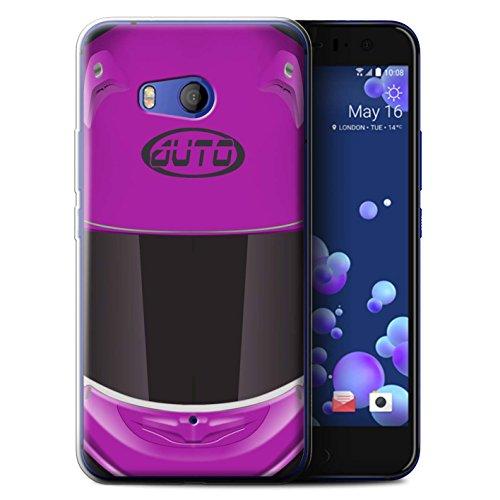 Stuff4® Gel TPU Hülle/Case für HTC U11 / Superbike/Rosa Muster/Motorradhelm Kollektion