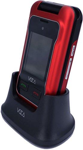 VOCA V530 entsperrt 2G / 3G Flip-Handy, Dual-Screen mit großen Knopf und große Schrift, Multi-Sprachen, SOS-Taste, Hörgerät kompatibel, einfach zu bedienen, seniorenfreundlich, rot