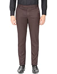 Routeen Brown Slim Fit Formal Trouser Pants For Men