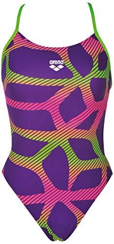Arena Damen Badeanzug Spider 000173 Maxlifebooster Racer Back, violett (Mirtilla Leaf), 32 -