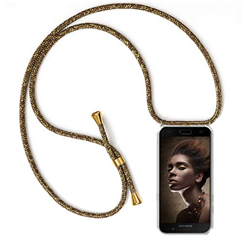 ZhinkArts Handykette kompatibel mit Samsung Galaxy A5 2017 - Smartphone Necklace Hülle mit Band - Schnur mit Case zum umhängen in Gold - Braun