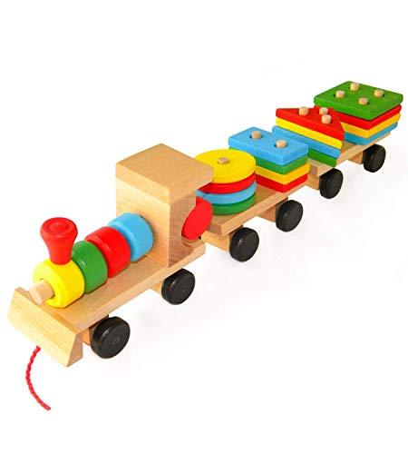 Lalia Holzeisenbahn mit Steckbausteinen bunt Holzspielzeug Transporter Zug Steckspiel Motorik Motorikwürfel Eisenbahn Geschenk für Kleinkinder Kinder ab 3 Jahren