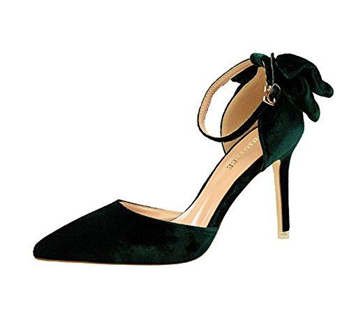 XINJING-S Bowknot High Heels Schuhe Party Hochzeit Frauen Pumps Heels OL Kleidung Schuhe Sandalen Grün