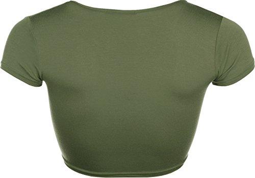WearAll - Cardigan court ouvert à manches courtes avec un noeud - Cardigans - Femmes - Tailles 36 à 42 Kaki