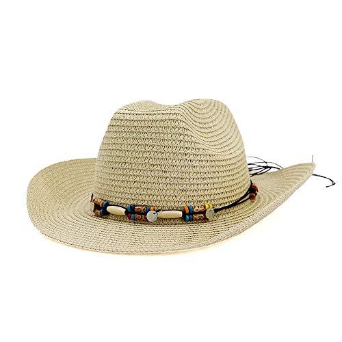 Damen Rustikale Kostüm - BAIJJ Vaxiuja-Fashion Herren Stroh Cowboy Hut Retro Sommer Hut Herren Damen Kostüm Sonnenhut Stroh Sonnenhut Herren Western (Farbe: Khaki, Größe: 56-58CM)