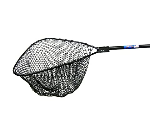 Ranger 993R Hook-Free and Tangle Free Molded Rubber Knotless Landing Net (48-Inch Round Fiberglass Handle, 28 x 30-Inch Hoop, 20-Inch Net Depth)