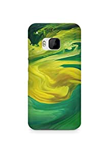 Amez designer printed 3d premium high quality back case cover for HTC One M9 (Hurricane Swirl Abstract Art Paint Green Pattern)