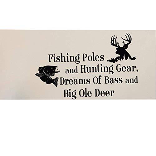 Toonol Country Wandaufkleber Zitate Angeln Polen und Jagd Gear Dreams of Bass und Big Ole Deer Schlafzimmer Kinder Raum, 35x 57cm