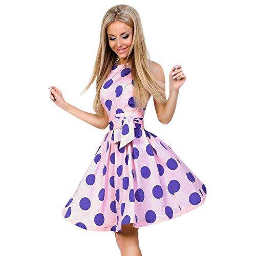 Vestido de fiesta de verano para mujer, LILICAT® 2018 Vestido de noche de impresión casual sin mangas de lunares Vintage Vestido de noche hasta la rodilla, fiesta de noche Vestido bohemio recto (XL, Rosado)