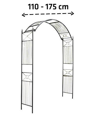 floristikvergleich.de CLP Metall-Rosenbogen FLEXI | Stufenlos verstellbare Rankhilfe für alle Rankpflanzen | Rundbogen im Landhausstil Schwarz