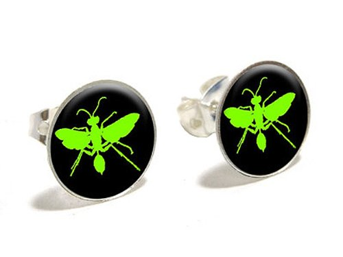 hornet-wasp-green-novelty-silver-plated-stud-earrings