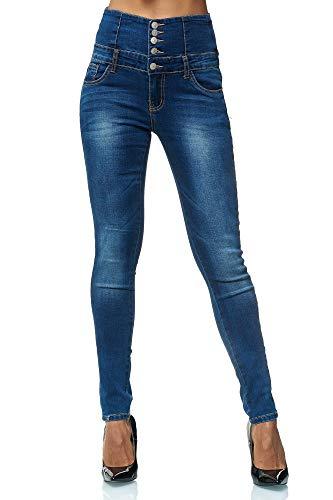 Elara Damen Stretch Hose | High Waist Jeans| Skinny | hoher Bund | Slim Fit | Chunkyrayan H243 Dk.Blue 38