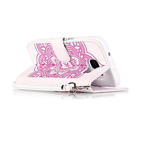 Uming® spéciales Séries Motif Colorful Imprimer cas PU Holster Case ( Black - pour IPhone 5S 5 5G SE IPhone5S IPhoneSE ) Artificial-cuir flip avec support Stander titulaire de la carte de crédit fente White-Pink
