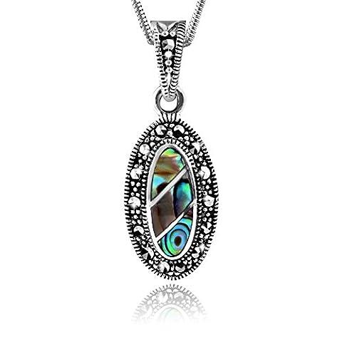 MATERIA 925 argent pendentif abalone nacré (vert)-vintage/1000 pendentif pierre #kA - 195