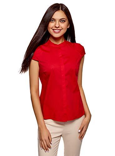 oodji Ultra Mujer Camisa con Cuello Mao de Manga Corta Raglán, Rojo, ES 36 / XS