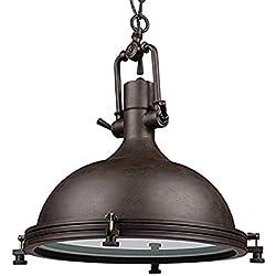 Glighone Lámpara Colgante 40W Lámpara de Techo Luz Industrial Lámpara Vintage Lámpara de Pantalla de Metal Estilo Retro Casquillo E27, Tulipa Negro
