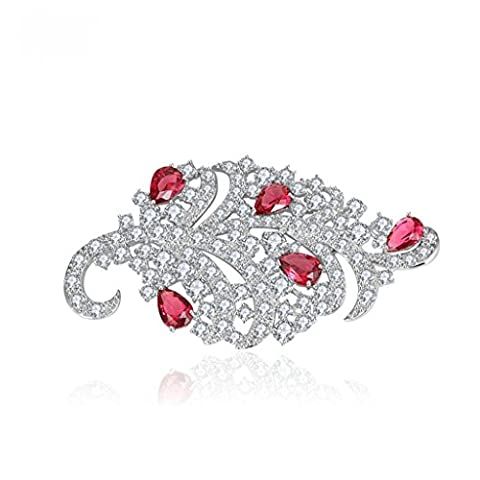 Beydodo White Gold Plated Brooch Pin For Women Leaf Corsage Bouquet Red AAA Cubic Zirconia, Water Drop